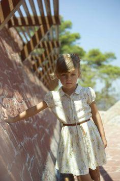 Rosefinch Dress in Cream Brush Stroke Print from Caramel Baby & Child