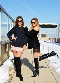 Two amateur girls modeling sweaters skirts and OTK boots outdoors