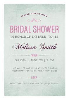 27cce12a0cf1 Here Comes The Bride - Free Bridal Shower Invitation Template