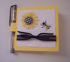 Yellow White and Black Sunflower and bee Post it note by schu0808, $4.00