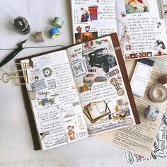 Gorgeous midori travelers notebook pages - ideas and inspiration for keeping a travel journal, sketchbook, scrapbook, or art journal Travel Journal Scrapbook, Travel Journal Pages, Book Journal, Travel Journals, Sketch Journal, Journal Diary, Cute Journals, Bullet Journal Inspiration, Sketchbook Inspiration