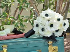 Black and White anemone bouquet with a vintage touch. Black and white wedding ideas Anemone Wedding, Anemone Bouquet, Floral Wedding, Wedding Flowers, Anemones, Flower Boquet, Bouquet Wrap, Ranunculus, Wedding Wishes