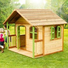 Great size Outdoor Playhouse for kids with a front porch, providing hours of fun and play for kids and toddlers. Outside Playhouse, Garden Playhouse, Pallet Playhouse, Build A Playhouse, Playhouse Outdoor, Cubby Houses, Play Houses, Wendy House, Diy Playground