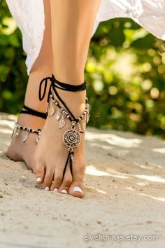 Black barefoot sandals Beach wedding anklet Gothic jewelry Foot jewelry Beaded barefoot sandal Footless sandals Soleless sandals Bottomless by Elvish Things
