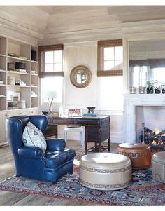 Antique Blue Florida Home Office with a Masculine Feel by Thomas Hamel Coastal Furniture, Coastal Decor, Coastal Curtains, Coastal Entryway, Coastal Rugs, Coastal Farmhouse, Modern Coastal, Coastal Style, Coastal Living