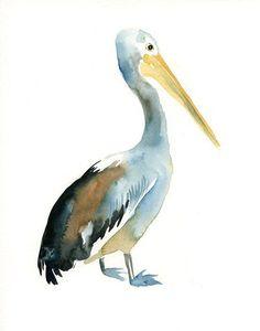 PELICAN Original watercolor painting 8x10inch (Vertical orientation):