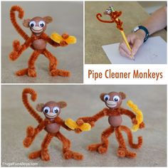 Pipe Cleaner Monkeys – Frugal Fun For Boys and Girls - kids craft Easy Crafts For Kids, Cute Crafts, Toddler Crafts, Diy Crafts To Sell, Projects For Kids, Diy For Kids, Beach Crafts, Jar Crafts, Summer Crafts