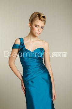 Charming Flowers Sheath/Column One-Shoulder Floor-length Bridesmaid Dresseses
