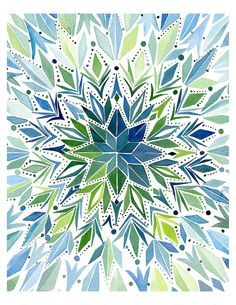 Handmade Watercolor Abstract Circular Triangles- 8x10 Wall Art Watercolor Print. $20.00, via Etsy.