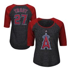 Women's Los Angeles Angels of Anaheim Mike Trout Majestic Charcoal Plus Size Name & Number Three-Quarter Sleeve Raglan T-Shirt