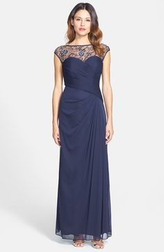 Free shipping and returns on Patra Embellished Illusion Yoke Chiffon Gown at Nordstrom.com. Lacy, opulently jeweled mesh plays as an illusion yoke to the sweetheart bodice of an asymmetrically shirred evening gown.