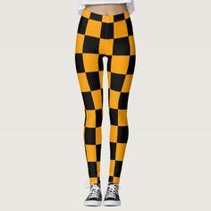 Yellow and black,  checkerboard pattern - modern leggings