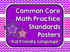 "I am working hard to help my students understand the complex elements of the common core--but third, fourth, and fifth grade students simply need ""kid friendly"" language to make sense of it! I have created a set of posters to show the 8 math practice standards using simpler language. We refer to these posters all the time as we work to become better problem solvers, not just ""answer getters""!  This was a custom design request for a ""chevron"" lovin' teacher!"