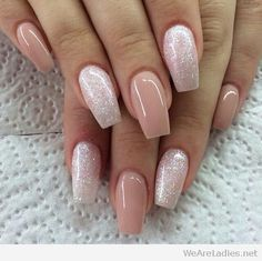 Coffin shaped nails with glitter