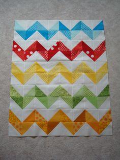 rainbow chevron quilt top