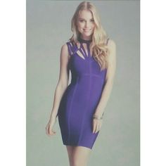 "Gorgeous Bebe Cutout Bandage Dress With a crisscross neckline and luxurious heavy stretch bandage fabric, %86 rayon, %14 spandex. Dry clean. Center back to hem : 33""(84 cm) model is 5'9"" and wearing a  US size S. Purple color new without tags. bebe Dresses Mini"