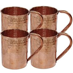 Drinkware Accessories Hammered Copper Moscow Mule Mug,Set of 4 Mugs DakshCraft