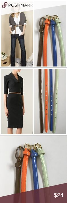 """Lot of 4 Patent Skinny Belts So many possibilities for these - over sweaters, dresses, with jeans to add a pop of color.   Lot of 4: Taupe, Orange, Mint and Blue  All size Large - all new without tags.  Width - 1/2"""" Overall Length - 44.5"""" (Taupe is 41.5"""") Accessories Belts"""