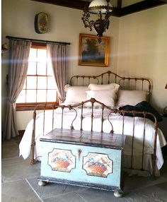 King Conversion for upstate NY client. Vintage Bed Frame, Antique Iron Beds, Moving Out, Your Space, Guest Room, Bedrooms, Rest, Victorian, King