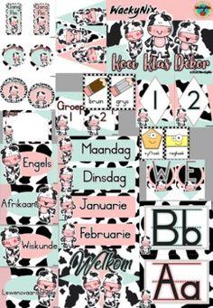 WackyNix Koei Klas Dekor by WackyNix   Teachers Pay Teachers Class Decoration, Classroom Decor, Cow, Teacher, Afrikaans, Math, Professor, Teachers, Math Resources