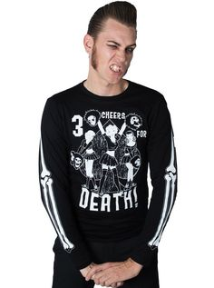 "Men's ""Three Cheers For Death"" Long Sleeve Tee by Kreepsville 666 (Black) #death…"
