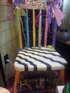 Upcycled old wooden chair, broke mirror and left over ribbon beautiful for little girls room
