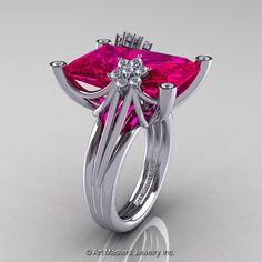 Check out this ruby engagement ring! Modern Bridal 10K White Gold Radiant Cut 15.0 Ct by artmasters