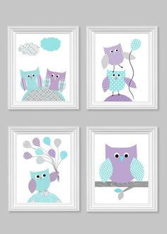 Owl Nursery Art Gray Aqua Purple Baby Girl by SweetPeaNurseryArt