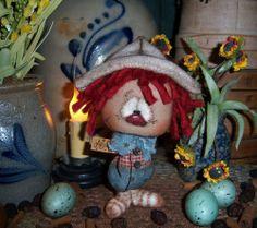 "Primitive Raggedy Andy 5"" Boy Doll Ornie Vtg Patti's Ratties Bear Artist OOAK"