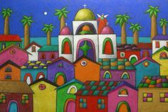 Gallery.ru / Фото #5 - Xavier Portilla - Ecuador - gulgal2705 City Folk, Deco Boheme, Jewish Art, Mexican Art, Whimsical Art, Diy Painting, Designs To Draw, Art Inspo, Les Oeuvres