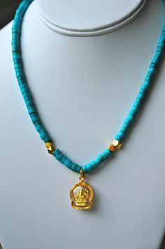 Turquoise and gold Ganesh / Ganesha Necklace by Tarinee on Etsy, $80.00