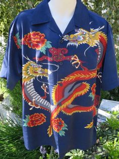 DRAGONFLY SHIRT Large Navy Blue MYTH Dragons Button Front Asian Influence NEW #Dragonfly #ButtonFront