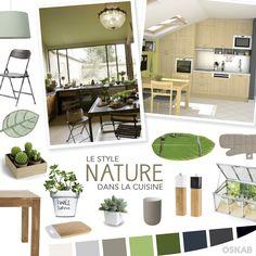 Découvrez notre planche de tendance sur le style nature pour recréer une cuisine qui allie fraicheur et luminosité naturelle. #cuisine #nature www.oskab.com