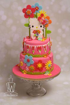 Hello Kitty - Cake by Akiko White - CakesDecor Hello Kitty Birthday Theme, Hello Kitty Themes, Birthday Cake Girls, 5th Birthday, Birthday Cakes, Pretty Cakes, Cute Cakes, Torta Hello Kitty, Anniversaire Hello Kitty