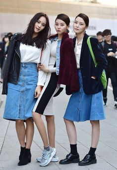 Street style: Jung Ji Young, Lee Jae Yi and Park Ye Eun at Seoul Fashion Week Fall 2015 shot by Baek Seung Won