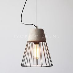 grey concrete pendant light with black wire surround Wire Pendant Light, Concrete Lamp, Sconce Lighting, Hanging Lights, Bulb, Ceiling Lights, Contemporary, Esther Boutique, Grey