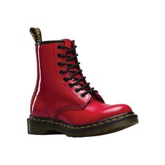 Women's Dr. Martens 1460 8-Eye Boot Patent - Red Patent Lamper Casual ($125) ❤ liked on Polyvore featuring shoes, boots, casual, casual shoes, red, urban boots, urban shoes, red patent boots, leather upper boots and summer boots