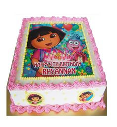 Dora the Explorer Cartoon Cake 2 Kg Dora Birthday Cake, Cartoon Birthday Cake, Birthday Sheet Cakes, 2nd Birthday, Birthday Ideas, Dora Cupcakes, Dora Cake, Dora The Explorer, Cartoon Cakes