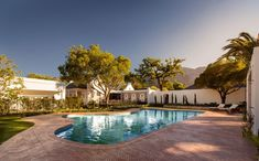 The swimming pool at Leeu House in the center of Franschhoek. Best Hotel Deals, Best Hotels, Outdoor Pool, Outdoor Decor, Hotel Reviews, 5 Star Hotels, Good Night Sleep, Great Photos, South Africa