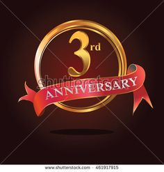 3rd anniversary golden ring logo with simple dynamic composition and soft red ribbon