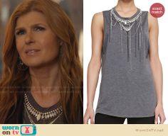 Rayna's grey bead embellished top on Nashville.  Outfit Details: http://wornontv.net/32574/ #Nashville