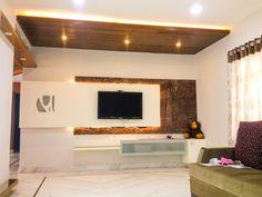 The tv unit modern living room by urban shaastra modern Living Room Partition Design, Room Partition Designs, Bedroom False Ceiling Design, Wall Unit Designs, Living Room Tv Unit Designs, Tv Cabinet Design, Tv Wall Design, Flat Interior Design, Contemporary Interior Design
