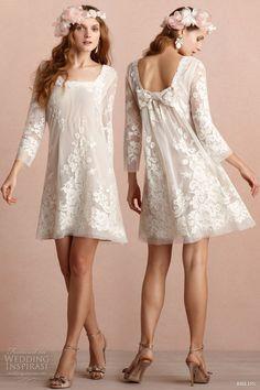 Sheath Chiffon Ivory Knee Length Long Sleeves Square Lace Bridesmaid Dress