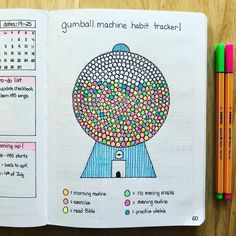 gumball machine habit tracker bullet journal layout ideas inspiration bujo inspo How to start a bullet journal bujo journal bullet journal organization Bullet Journal Inspo, Bullet Journal 2019, Bullet Journal Tracker, Bullet Journal Ideas Pages, Bullet Journal Layout, Journal Pages, Bullet Journal Ideas How To Start A, Journal Ideas For Teens, How To Journal