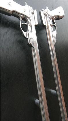 Guns - Cast Aluminium Giant entrance handle - Philip Watts Design - Nottingham