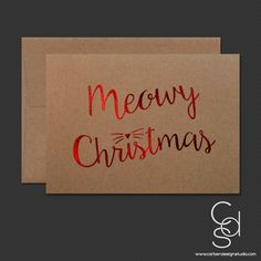 Meowy Christmas Greeting Card with Red Foil