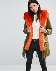 Little Mistress Hooded Parka With Contrast Faux Fur Lining