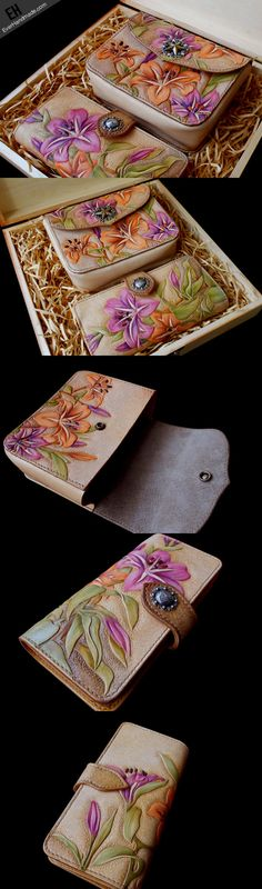Handmade women wallet vintage carved lily flower leather long wallet/h | EverHandmade