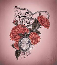 Locket and roses tattoo design by ~XxMortanixX on deviantART