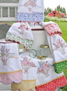 Grandma's Tea Towels embroidery pattern by Meg Hawkey of Crabapple Hill Designs